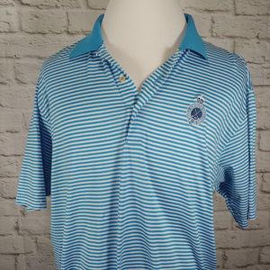 Royal Portrush GC Blue/White Striped Cotton Polo